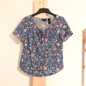 Vintage Floral Flowers Button Up Tie Shirt 0